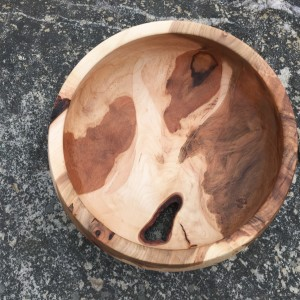 Maple Burl Fruit Bowl with Bark Inclusion